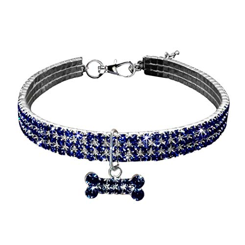 cureture Pet Halskette, Cute Mini Pet Hund Bling Strass Léon Halsbänder Fancy Hund Halskette, Pet 3 Reihe Strass Künstliche Mauerwerk Halskette