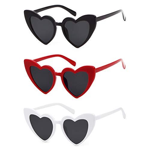 ADEWU Herzform Sonnenbrille Mode Retro Brille Damen Frauen (Z - Schwarz + Weiß + Rot)