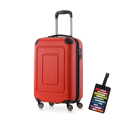 Happy Trolley - Handgepäck Hartschalen-Koffer Koffer Trolley Rollkoffer Reisekoffer Lugano, sehr leicht, TSA, 55 cm, 40L, Rot + HT Kofferanhänger