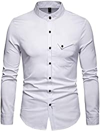 ReooLy Herren Langarm Casual Button Business Große Größe Casual Top ... 164da4f401