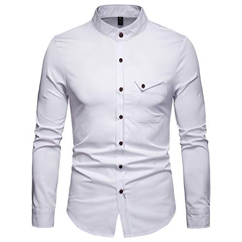 Herrenmode Business Solid Color Casual Revers Tasche Knopf Langarm-Shirt(Weiß,2XL)