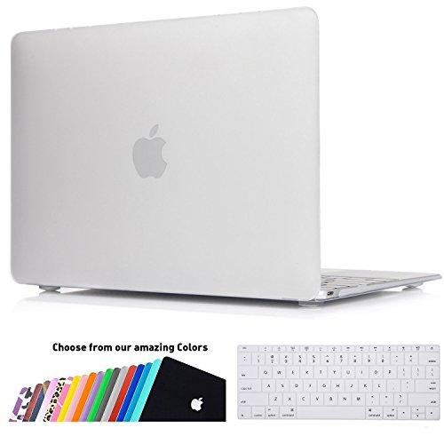 MacBook 12 Retina Hülle Case, iNeseon Ultra Slim Gummierte Hartschale Tasche Cover Shell, US Transparent und EU Transparent Tastatur Abdeckung Schutzhülle für Apple MacBook 12 Zoll mit Retina Display [Modell:A1534] (Transparent)