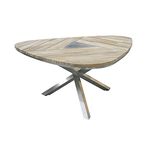 4Seasons Outdoor Maison Triangel Tisch Teak Top mit Edelstahlbeinen 19348