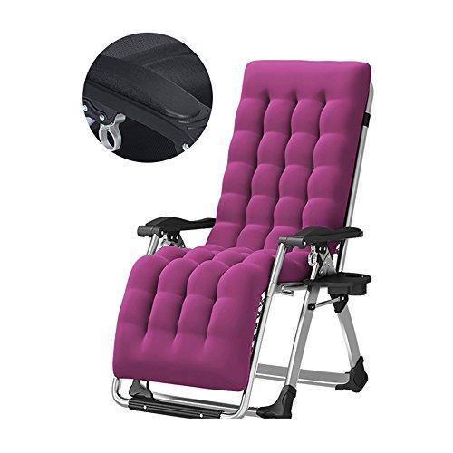 Falten Sie Lounge-Stühle, Balkon-Stühle, Büro-Siesta-Stuhl, Alter Mann-Lehnsessel, Sun-Ruhesessel, Garten-Stühle, Strand-Stühle, Schwerkraft-Stuhl, mit Cup-Halter, entfernbarer Baumwollauflage ( Farbe : Lila ) | Garten > Balkon > Balkonstühle | Sofa Stuhl