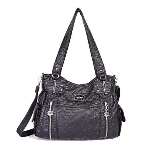 Europäischen Stil Taschen weichen PU-Leder-Umhängetasche für Frauen mit großer Kapazität Handtaschen Black -