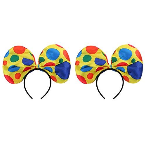 Blesiya 2 Stück Polka Dots Clown Stirnband Haarband Kostüm Kopfband Haarreif
