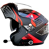 Motorcycle Bluetooth Helmet Motorcycle Open Face Helmets D.O.T Safety Standard/Bluetooth Music/Automatic Answer/Front Flip Anti-Fog Double Mirror Comes With FM (L, XL, XXL),Blackred,L