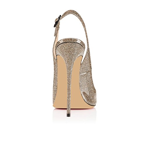 EDEFS Damenschuhe 120mm Peep Toe Slingback High Heels Sandalen mit Schnalle Öffnen Zehe Stiletto Schuhe Glitzern-Gold