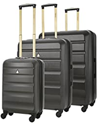 Aerolite 55x40x20 Tamaño Máximo de Ryanair y Vueling Trolley Maleta Equipaje de mano cabina ligera con 4 ruedas, Negro/Gris