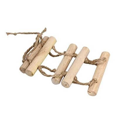 Toy Bridge Ladder - SODIAL(R)Small Parrot Rat Toy Bridge Ladder Hamster Bird Cage Accessories Wood color 2