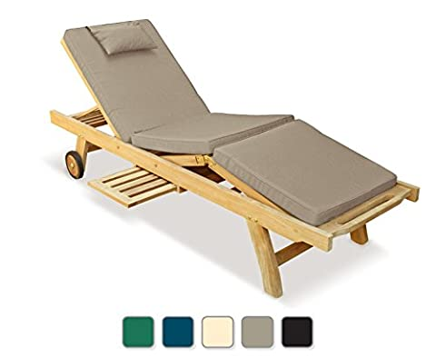 Luxury Sun Lounger with adjustable knee section and Cushion from a choice of up to 5 different colour variations - Jati Brand, Quality & Value