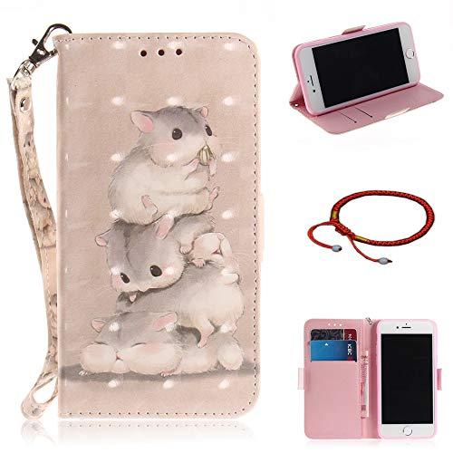 GOCDLJ iPhone 7 / iPhone 8 Hülle PU Leder 3D Flip Cover Tasche Ledertasche Handytasche Schutzhülle Handyhülle Case Etui Wallet mit Lanyard Strap Shell Design DREI Hamster