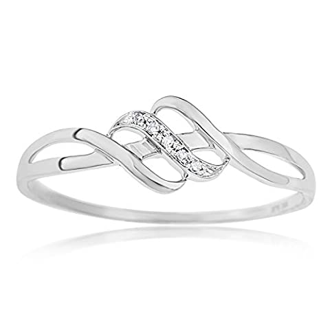 Ornami Glamour 9ct White Gold Fancy Wave Diamond Set Dress Ring - Size (White Diamond Anello Onda)