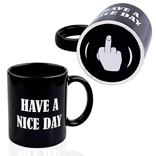 Kyonne Have A Nice Day Taza de café, Middle Finger Funny Cup para Jugo de Leche Coffee or Tea Taza de Cerámica Negro, Regalo para Hombres o Mujeres