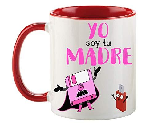 FUNNY CUP Taza Dia de la Madre. Yo Soy tu Madre. Frikis Madres. Regalo Divertido Star Wars. (Rojo)