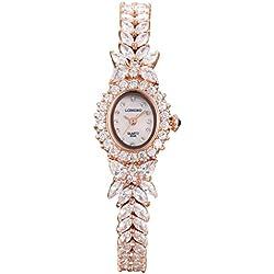 LONGBO Womens Fashion Stainless Steel & Rhinestone Band Bangle Watch Rose Gold Oval Case Bracelet Wrist Dress Watches Lady Rhinestone Crystal Analog Quartz Wedding Watches