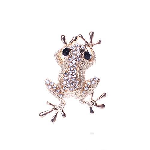 Vektenxi Premium Qualität Kristall Frosch Brosche Legierung Tierform Unisex Emaille Pins Kleidung Zubehör, Gold