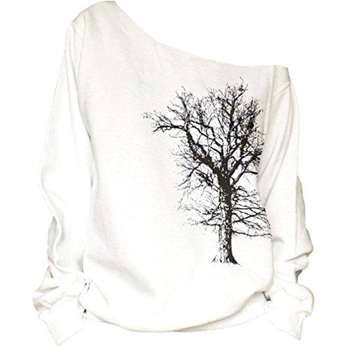 Cfanny Femmes Épaule Découverte Imprime Lèvres Sexy Pull Pulls Chemise Tree of Life