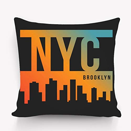 (rongxincailiaoke Kissenbezüge Pillow case New York City Brooklyn Print Skyline Silhouette 18 * 18 inch)