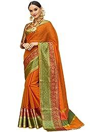 Pisara Women Banarasi Cotton Silk Saree With Blouse Piece,Orange & Green Sari