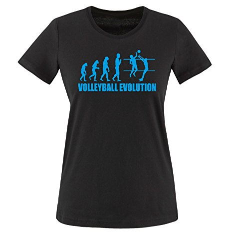 Comedy Shirts - Volleyball Evolution - Damen T-Shirt - Schwarz/Blau Gr. S