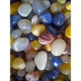 R&M Shiny Marble Stone Pebbles for Vase Fillers Outdoor/Garden Decoration, 1 Kg (Multicolour)