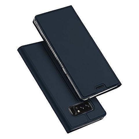Samsung Galaxy Note 8 Coque,SMTR Ultra-mince Aimant intégré PU Cuir Flip Housse Étui Cover Case Wallet Portefeuille Supporter avec Carte de Crédit Fentes pour Samsung Galaxy Note 8 -Bleu