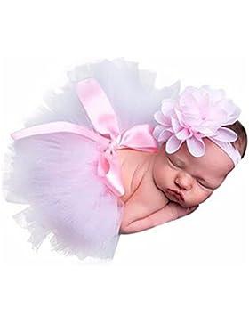 HENGSONG Rosa Foto Fotografie Outfits Baby Kostüm Tütü Rock Pettiskirt Mädchen Blumen Stirnband
