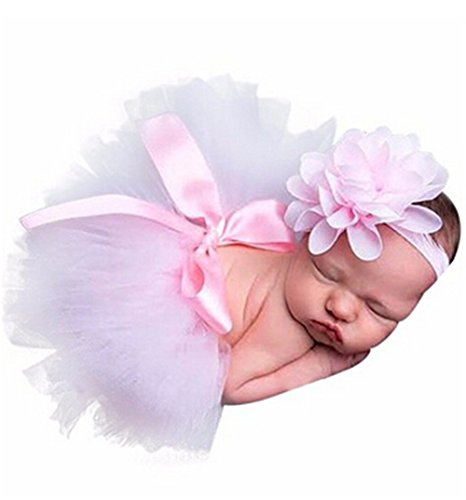 Babys Für Neugeborene Kostüm - HENGSONG Rosa Foto Fotografie Outfits Baby Kostüm Tütü Rock Pettiskirt Mädchen Blumen Stirnband (Größe 1)