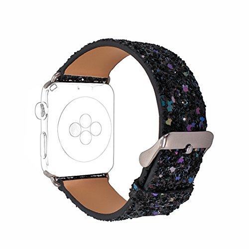 Bracelet pour Apple Watch 38mm, Bracelet Femme Fantaisie Rosa Schleife Bracelet iWatch 3 38mm Bracelet de Sport Bande Leather Strap Remplacement de Bracelet avec Metal pour Apple Watch Series 3/2/1