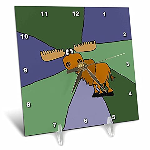 3dRose Grumpy Moose Art with Colorful Background - Desk Clock, 6 by 6-Inch (dc_200485_1)
