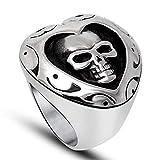 YABEINI Schmuck Titan Stahl Herz Formte Geist Kopf Around Muster Ring für Männer Ringe