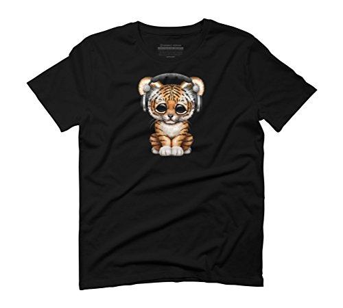 Cute Tiger Cub Dj Wearing Headphones Men's Graphic T-Shirt - Design By Humans Black