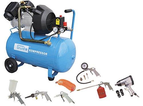 Güde 71171 401/10/50 15 TLG Kompressor Set (50l V 2-Zylinder Kompressor mit 200l/min liefermenge, direktantrieb, 10 bar, 2200W)