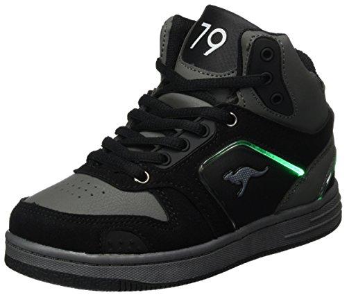 KangaROOS Unisex-Kinder K-BaskLED II Sneaker, Schwarz (Jet Black/Steel Grey), 30 EU