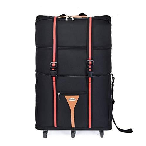ZXY 3 Stockwerke hoch Reisetasche,Wasserdicht Erweiterbar Rollenreisetasche 60L,Schwarz