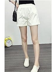 LEYAN-Deporte de algodón pantalones de talle sueltas una palabra pantalones pantalones de pierna ancha,Blanco