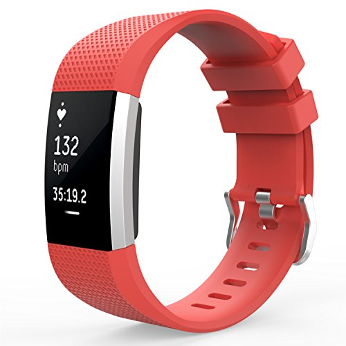 MoKo MoKo Fitbit Charge 2 Band Soft Silicone Adjustable Replacement Sport Strap Band for Fitbit Charge 2 Heart Rate + Fitness Wristband Wrist Length 5.70inch-8.26inch (145mm-210mm) RED