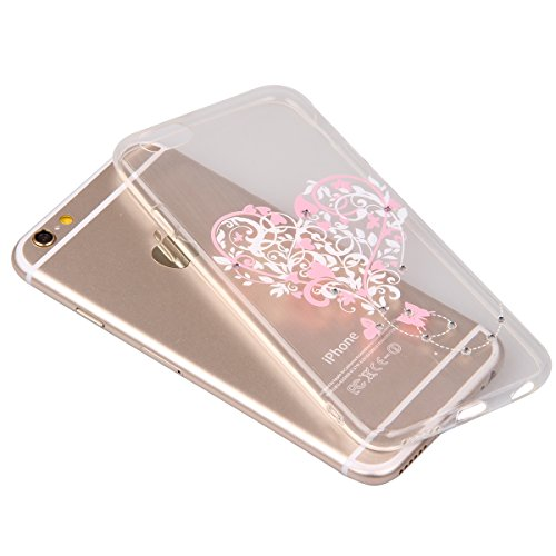 iPhone 6S Case,iPhone 6 Cover, Felfy Apple iPhone 6 / 6S 4.7 inch Rosa weiße Blume Muster Intarsien Shiny Funkeln Diamant Design Ultra Dünne weiche TPU Gel Silikon Transparent Clear Crystal Klar zurüc Rosa Muster #4