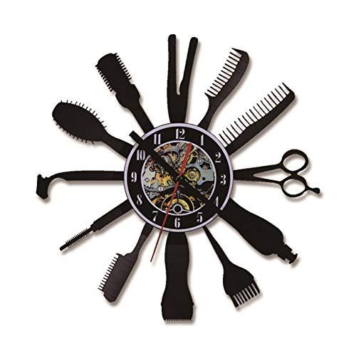 txyang Herramientas de peluquería Reloj de grabación LED Arte Moderno Creativo Decoración del hogar Reloj de Pared Material acrílico Negro Reloj Hueco