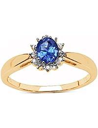 La Colección Anillo Tanzanita: Anillo Oro 9ct y Tanzanita ovalado y set de Diamantes, Anillo Compromiso, Perfecto…