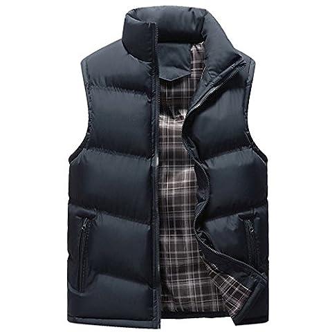 KINDOYO Homme Doudoune Blouson Manteaux sans Manches Chaud Manteau Hiver Vestes Garçon Blouson Jacket Decontracte Imperméable Gilet , Bleu