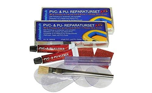 fishingglue.de PVC- & PU-REPARATUR-SET XXL 2er-Pack, Flickzeug für Schlauchboot Zelt Pool Gewebe Planen Markise Isomatte Luftmatratze Vinyl PVC PU (Polyurethan)