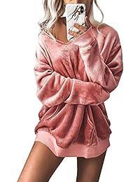 Minetom Kapuzenpullover Langarm Damen Hoodie Sweatshirt Mode Samt Casual  Pullover Tops Herbst Winter Sweatjacke 5eeebccf3f