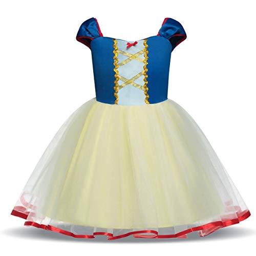 Zorxu Kleid, Gänseblümchen-Prinzessin, Schneewittchen-Kleid, Rapunzel-Kleid, Meerjungfrau-Kostüme für Babys, Kleinkinder, Mädchen Gr. 90 cm, Blue&Yellow (Prinzessin Jasmin Kostüm Tiara)