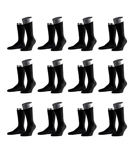 FALKE Herren Business-Socken Swing 14633 12 Paar, Farbe:Schwarz;Sockengröße:43-46;Artikel:-3000 black