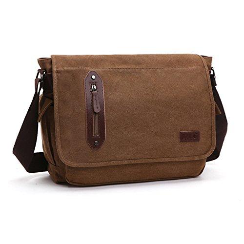 Outreo Umhängetasche Herren Kuriertasche Vintage Taschen Schultertasche Herrentaschen Canvas Messenger Bag für Reisen Schule Laptop Aktentasche Tablet Reisetasche Braun