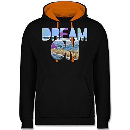 Statement Shirts - Dream On Strand Meer - Kontrast Hoodie Schwarz/Orange