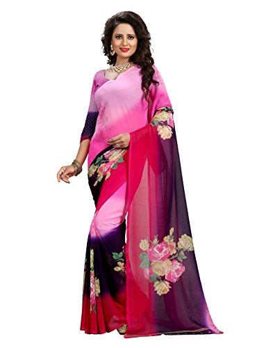 Heena Pink Floral Print Georgette Saree with Blouse Piece  available at amazon for Rs.389