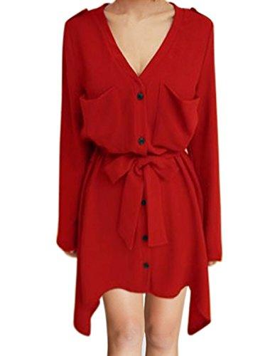 sourcingmap Femme Manches Retrousser Taille Corde Asymétrique Robe Chemise Rouge